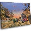 American Farm Autumn Fall Golden Sunset Painting 50x40 Framed Canvas Print
