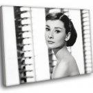 Audrey Hepburn Retro Classic Actress BW 50x40 Framed Canvas Print