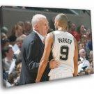 Tony Parker Gregg Popovich San Antonio Spurs 50x40 Framed Canvas Print