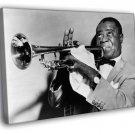 Louis Armstrong BW Portrait Saxophone Retro 50x40 Framed Canvas Print