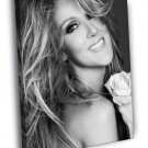 Celine Dion Smile Flower Beautiful BW Portrait 50x40 Framed Canvas Print