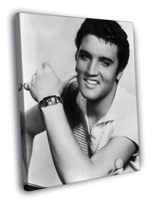 Elvis Presley BW Portrait Handsome Retro 50x40 Framed Canvas Print