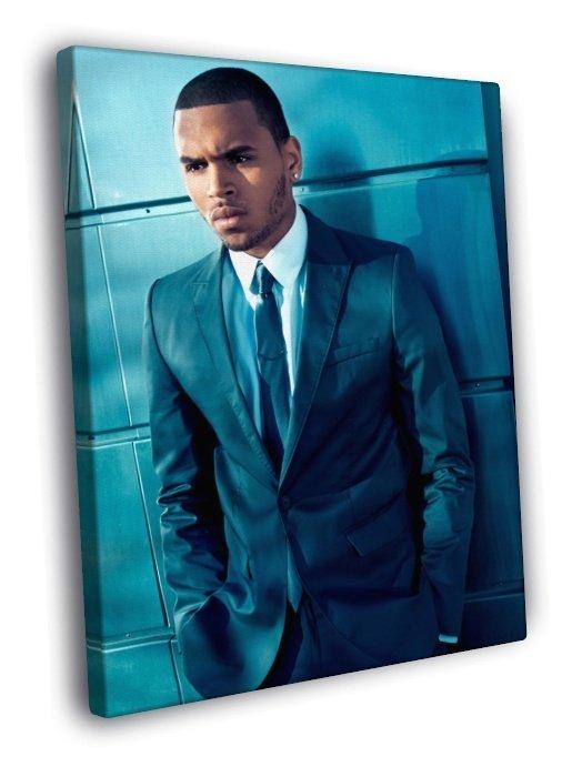 Chris Brown Suit Handsome Elegant Music Singer 50x40 Framed Canvas Print