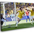 David Luiz Goal Celebration World Cup Football 50x40 Framed Canvas Print