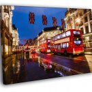 London Red Double Decker Bus Great Britain 50x40 Framed Canvas Print