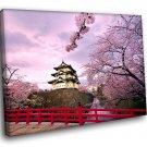 Japan Hirosaki Castle Hilltop Sakura Flowers 50x40 Framed Canvas Art Print