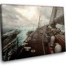 Sailboat Wood Deck Storm 50x40 Framed Canvas Art Print