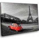 Paris Eiffel Tower Red Car 50x40 Framed Canvas Art Print