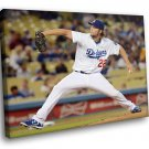 Clayton Kershaw Baseball Los Angeles Dodgers Sport 50x40 Framed Canvas Art Print