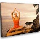 Yoga Calm Relaxation Lotus Position 50x40 Framed Canvas Art Print