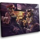 Bar Beer Flirt Art 50x40 Framed Canvas Art Print