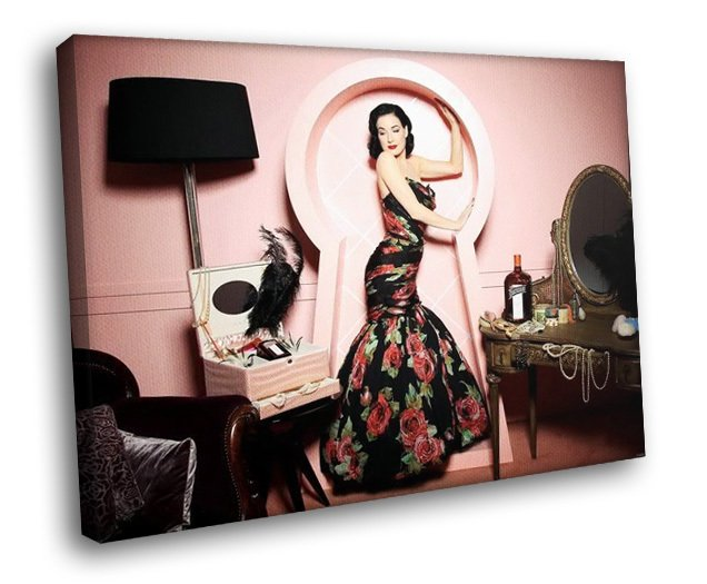 Dita Von Teese Sexy Model Beauty 50x40 Framed Canvas Art Print
