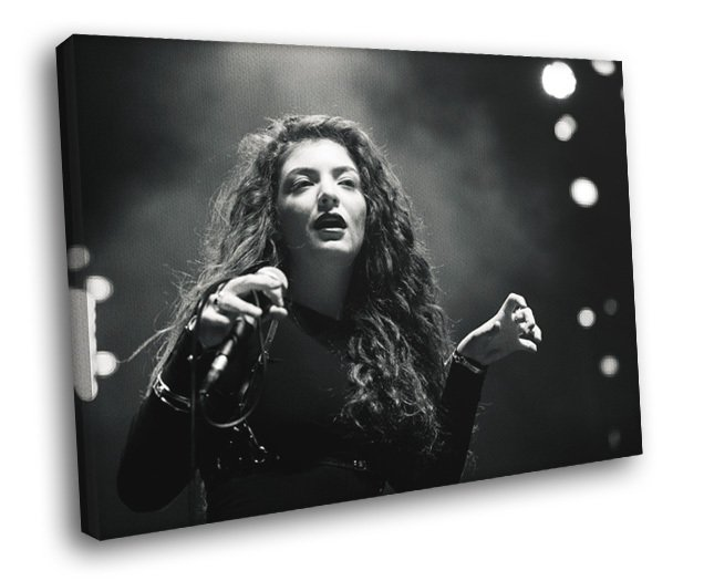 Lorde Pop Singer BW Music 40x30 Framed Canvas Print