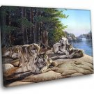 Wolves Animal Nature Landscape Lake Wolf Painting 40x30 Framed Canvas Print