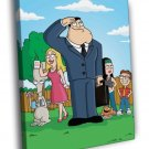 American Dad Family Characters TV Series 40x30 Framed Canvas Print