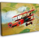 Red Baron WW1 German Triplane Dogfight Art 40x30 Framed Canvas Print