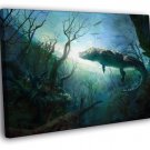 Crocodile Painting Art Underwater Landscape 40x30 Framed Canvas Print