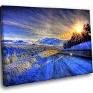 Winter Road Alaska 40x30 Framed Canvas Art Print