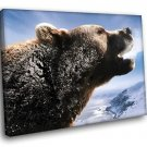 Brown Bear Roar Snow Mountains Wild Animals 40x30 Framed Canvas Art Print