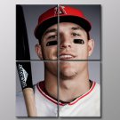 Mike Trout Los Angeles Angels Baseball Sport 40x30 Framed Canvas Art Print