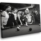 Vintage Girls Pool Billiard BW 40x30 Framed Canvas Art Print