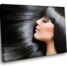 Brunette Silk Hair Hairdressing Saloon 40x30 Framed Canvas Art Print