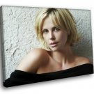 Charlize Theron Actress Cute Naked Shoulders 40x30 Framed Canvas Art Print