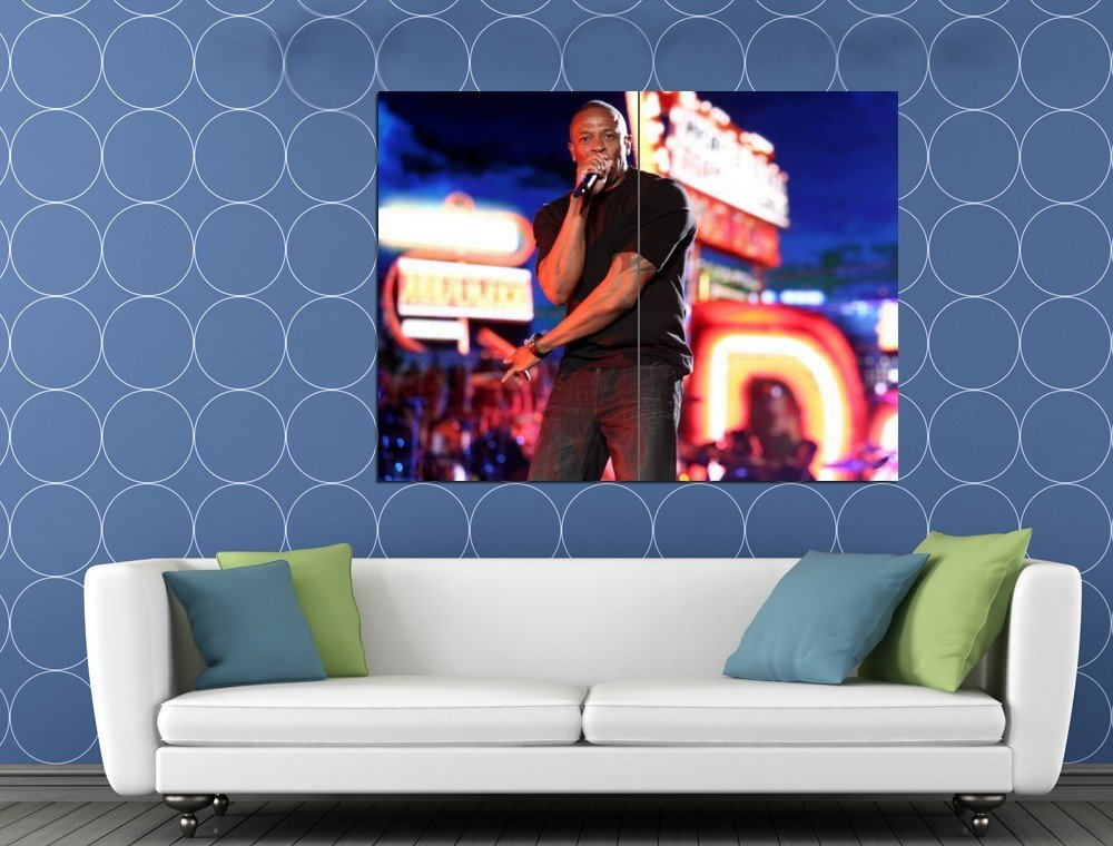 Dr Dre Night Amazing Stage Microphone Gangsta Rap Rare HUGE 48x36 Print POSTER