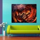 Red Dragon Fantasy Flame Rocks 47x35 Print Poster