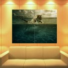 Fishing Tiger Wild Cat Animal Nature Huge Giant Print Poster
