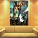 Star Wars Jedi Lightsaber At At Walkers Battle Art Huge Giant Print Poster