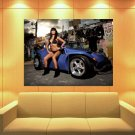Brunette Hot Sexy Babe Woman Car Miss Tuning Huge Giant Print Poster