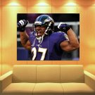 Raymell Mourice Rice Baltimore Ravens Scream Huge Giant Print Poster