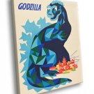 Godzilla Vintage Painting Art 30x20 Framed Canvas Print