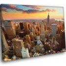 Manhattan Sunset New York City Empire State Building 30x20 Framed Canvas Print