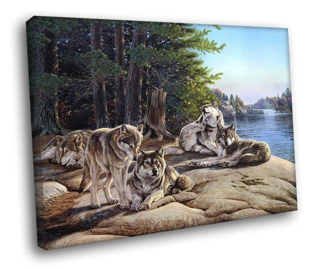 Wolves Animal Nature Landscape Lake Wolf Painting 30x20 Framed Canvas Print