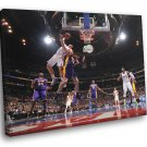 Magic Johnson Layup Los Angeles Lakers Basketball 30x20 Framed Canvas Print