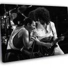 Queen BW Stage Freddie Mercury Brian May Band 30x20 Framed Canvas Print