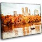 New York Central Park Autumn Boat 30x20 Framed Canvas Art Print