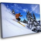 Speed Skiing Mountain Snow Sport 30x20 Framed Canvas Art Print