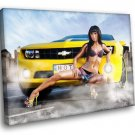 Chevrolet Chevy Sport Car Sexy Girl Hot Brunette 30x20 Framed Canvas Art Print