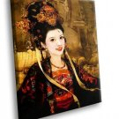 Chinese Beauty Traditional Dress Flowers 30x20 Framed Canvas Art Print
