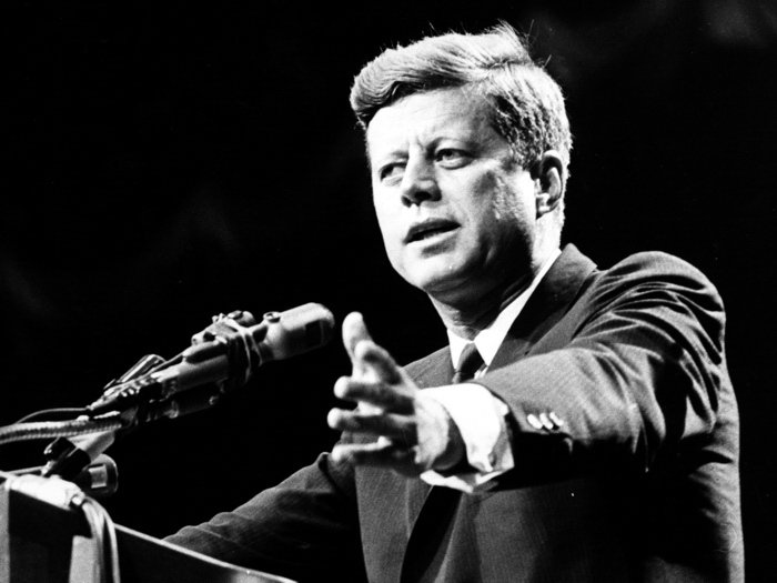 JFK John Fitzgerald Kennedy US President Portrait BW 32x24 Wall Print POSTER