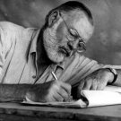 Ernest Hemingway Writer Glasses Drafts Notes BW 32x24 Wall Print POSTER