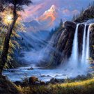 Amazing Painting Art Waterfall Forest Mountain 24x18 Print Poster