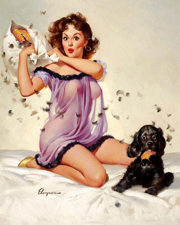 Gil Elvgrin art �ticklish situation� 20x16 inch Framed Canvas Art Print