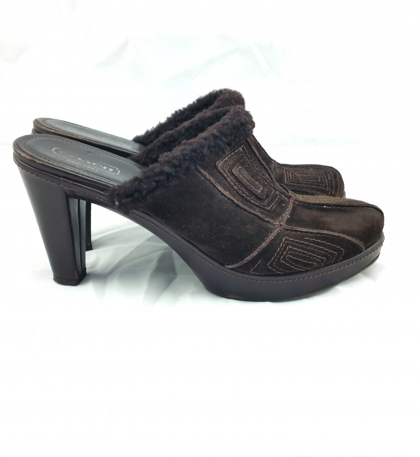 COACH Vintage Brown Suede Leather Clogs Mules Aubrey