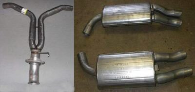 1986 - 1990 Chevrolet Corvette Y Pipe and Two (2) Rear Mufflers 34096-OR737-738