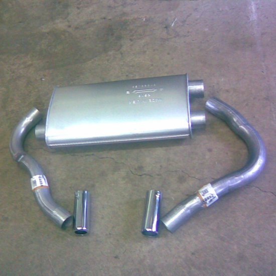 1993 - 1997  Chevrolet Camaro 5.7L  Rear Mufller, 2 Tail Pipes, 2 Chrome Tips, 3 Exhaust Clamps