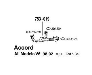 98-2002 Honda Accord V6 3.0L Front Pipe A Pipe 753-019